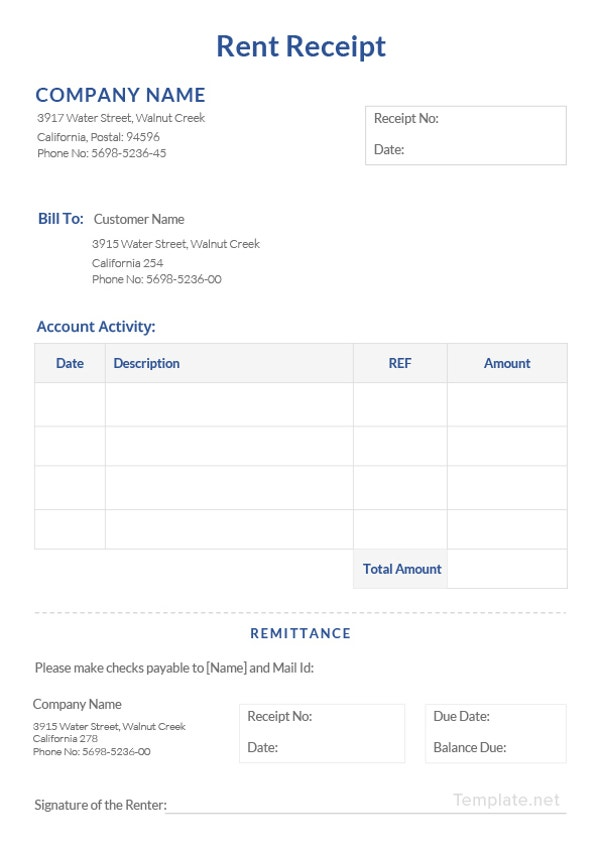 Rent Receipt Template 8 Free Word Pdf Documents Download Free