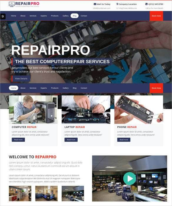 repairpro computer repair mobile servicing html5 t