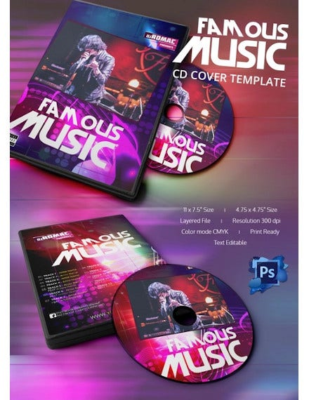 rocking music cd cover template