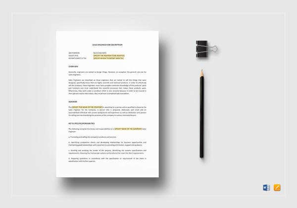 sales engineer job description template