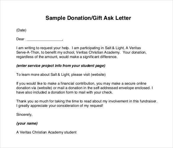 sample donationgift ask letter