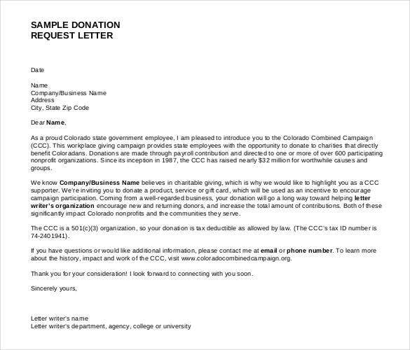 Superbe Sample Giving Donation Request Letter