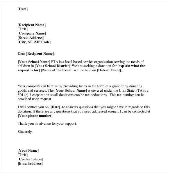 Donation letter template 35 free word pdf documents for Donation letter template for schools