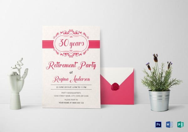 sample retirement party invitation psd template