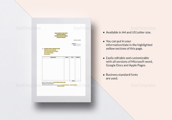 sample service invoice template