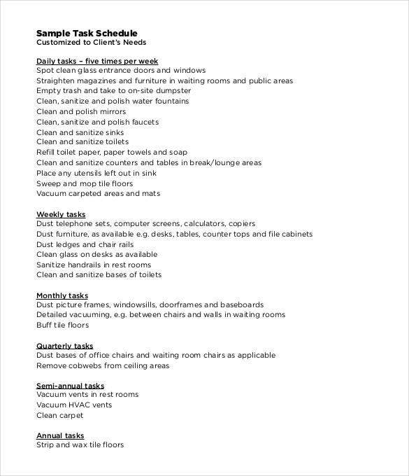 sample task schedule