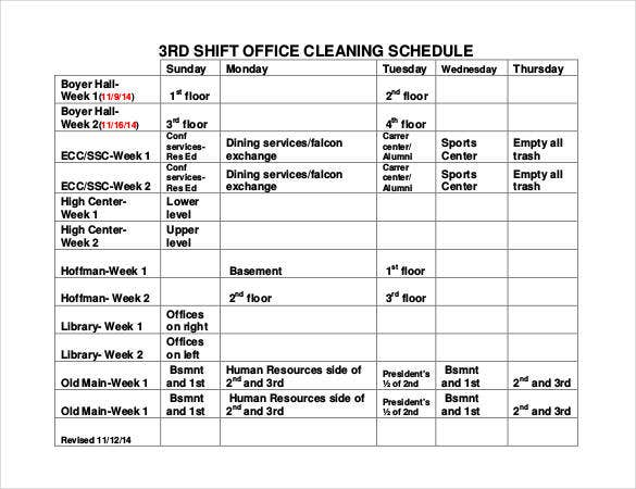 shift office cleaning schedule template download