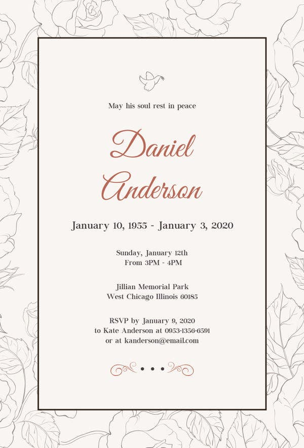 76 invitation card example free sample example format for Funeral handouts template