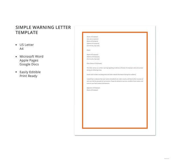 simple warning letter template
