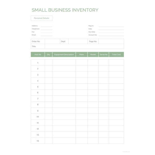 small business inventory template