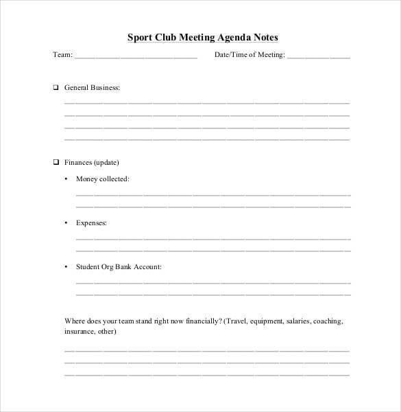 sport-club-meeting-agenda-notes