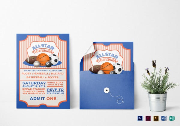 sports ticket invitation indesign template