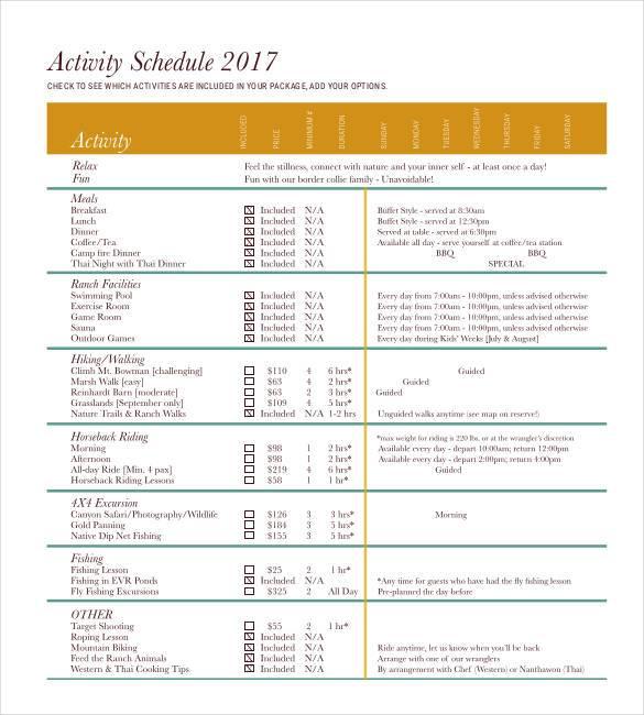 standard activity schedule1