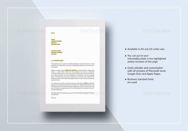 termination-letter-excessive-absenteeism-template