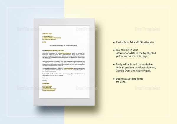 termination-letter-substance-abuse-template