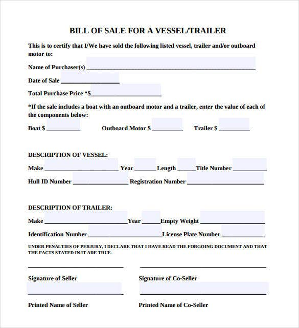 trailer bill of sale template pdf