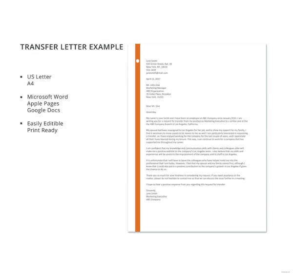 Transfer Letter Example Template