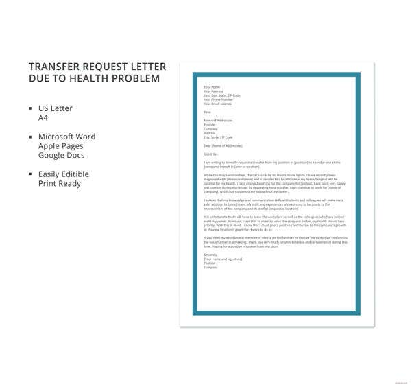transfer request letter due to health problem template