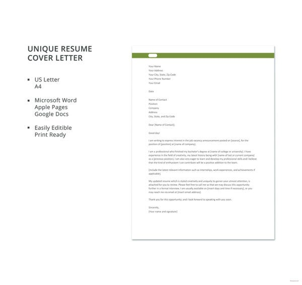 Resume Cover Letter 23 Free Word Pdf Documents Download