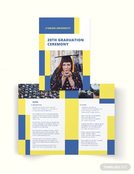 university graduation bi fold brochure template