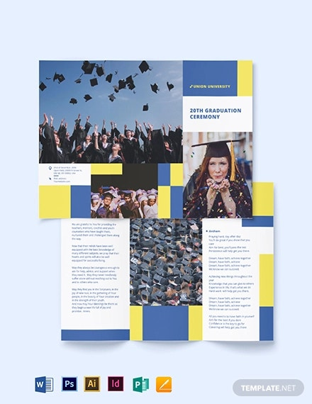 university graduation tri fold brochure template