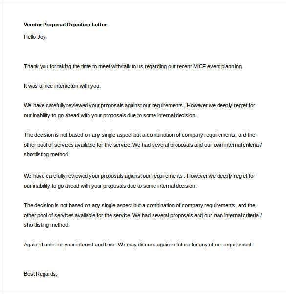 vendor proposal rejection letter