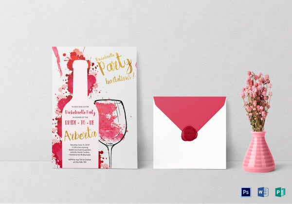 watercolor bachelorette party invitation card template