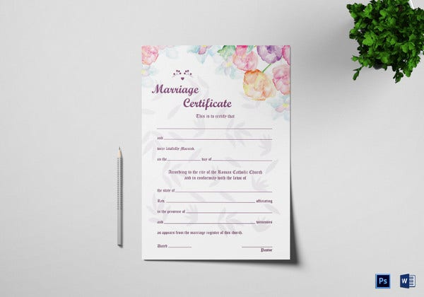 watercolor wedding certificate template
