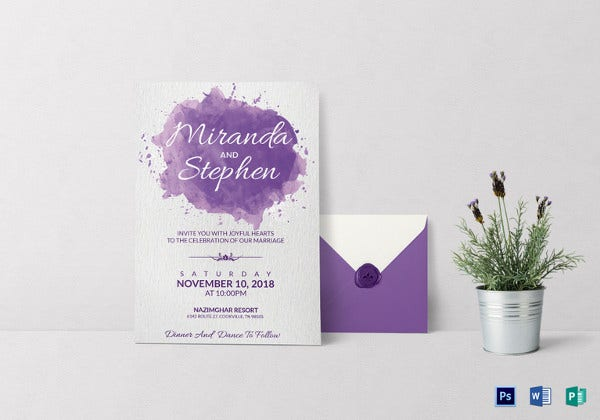 watercolor wedding invitation card template1