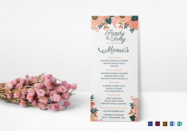 wedding menu indesign template