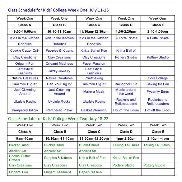 weekly college class schedule template