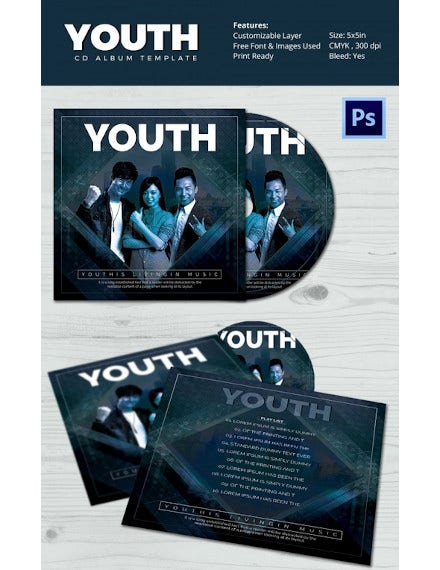youth psd album cover template