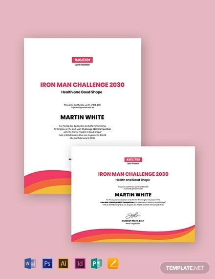 creative prize certificate