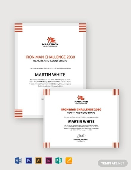 modern prize certificate