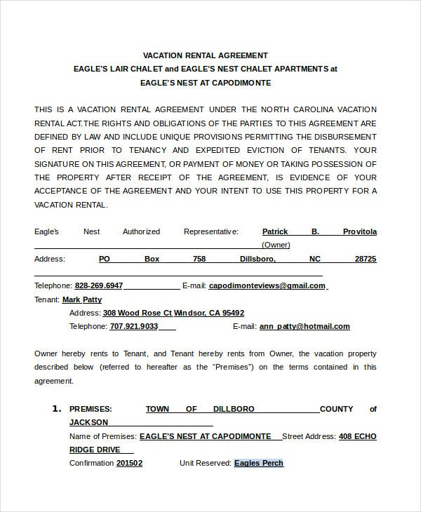 Vacation Rental Agreement Form