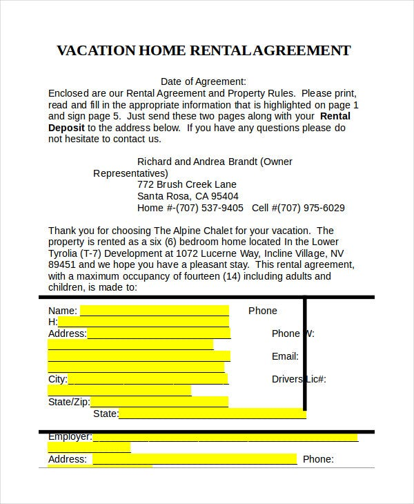 Rental Agreement Form 14 Free Sample Example Format