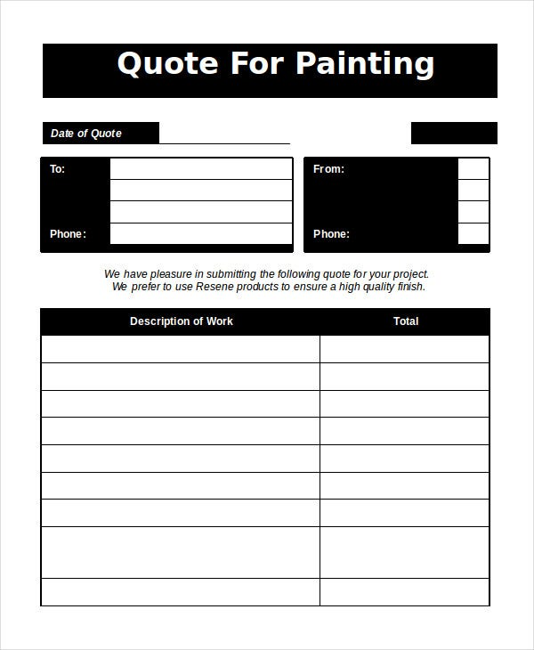 Painting quotation template 8 for word excel pdf for Exterior house painting estimate template