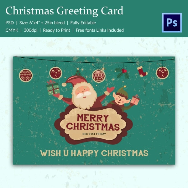 Happy Santa Merry Christmas Greeting Card Template