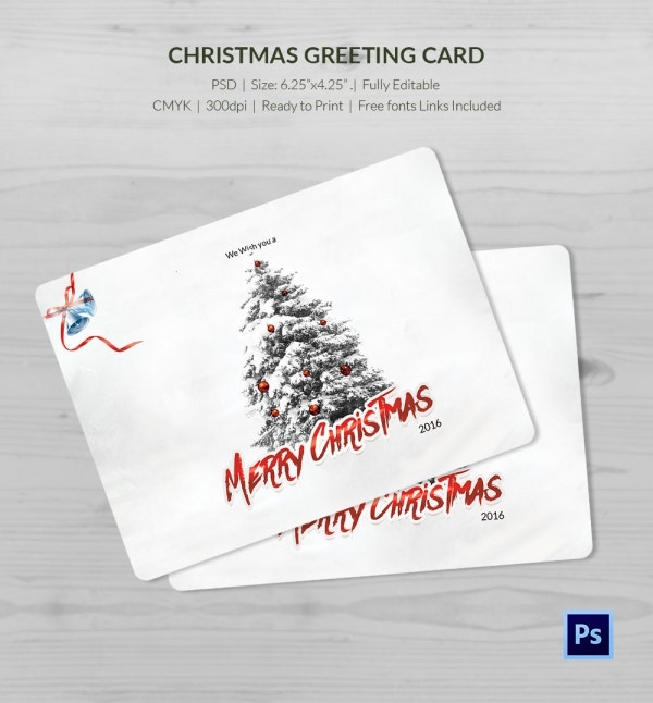 White Christmas Holiday Greeting Card Template