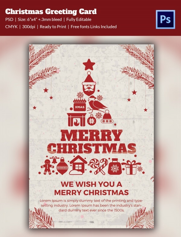 Vibrant Christmas Greeting Card PSD Format