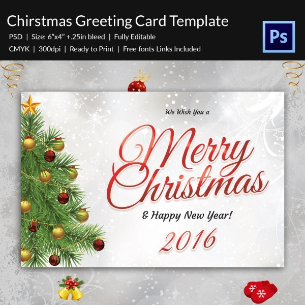 bright christmas new year greeting card template