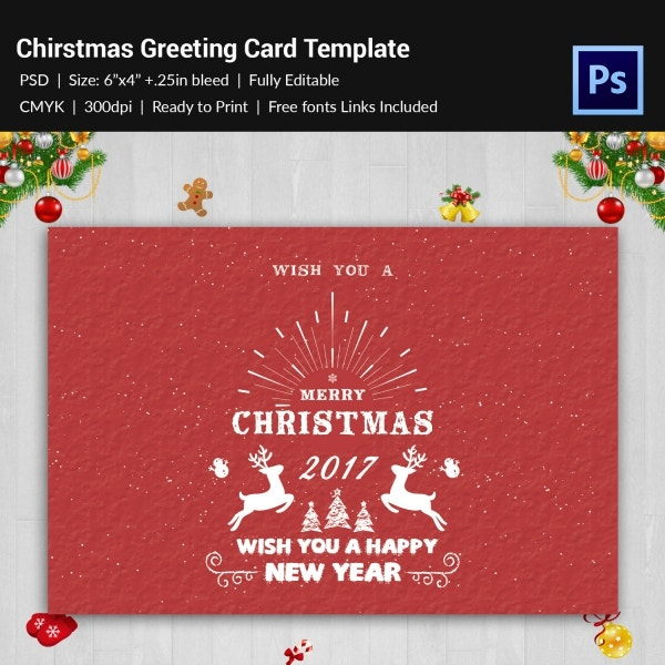 christmas new year greeting card template psd download