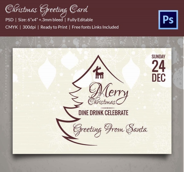 Classy Christmas Greeting Card Template Download