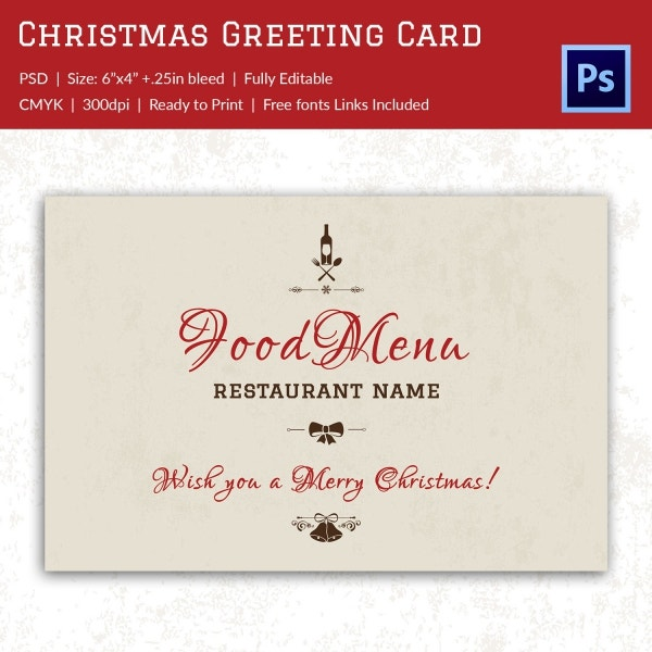 Christmas Restaurant Greeting Card Invitation