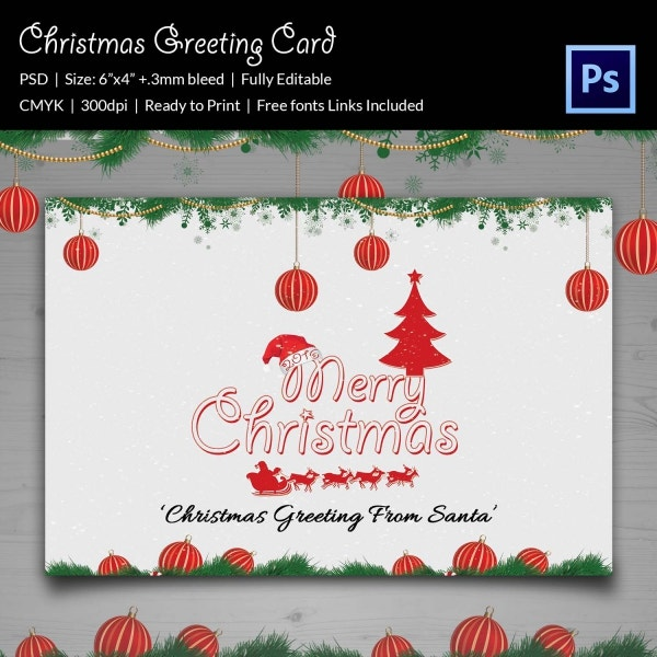 Santa Christmas Greeting Card Template