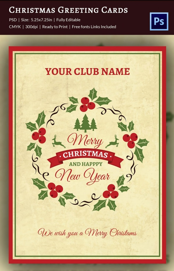 Club Christmas Greeting Card Template