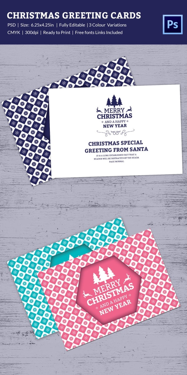 Fully Editable Christmas Greeting Card Template