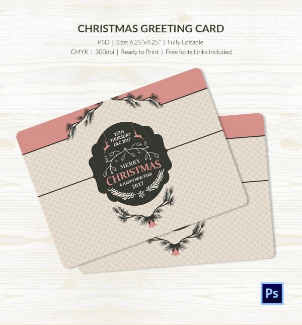 simple christmas greeting card psd template