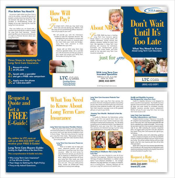panel folded insurance brochure