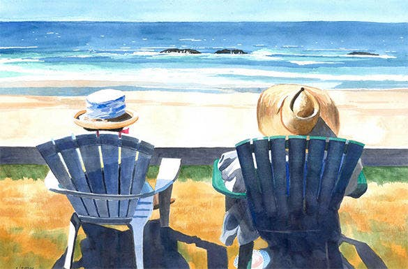summer in beach painting